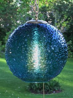 Vintage Mid Century Turquoise Blue Art Glass MOON Hanging Swag Lamp Light
