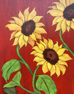 """Sunflowers by the Barn"" - Painting by Lorraine Skala - Please visit my Etsy Shop to purchase notecards or prints"