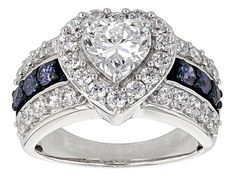 Blue And White Cubic Zirconia Silver Ring 5.13ctw