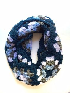 Chic modern blue and gray granny square cowl by GreenHorseCraft, $40.00