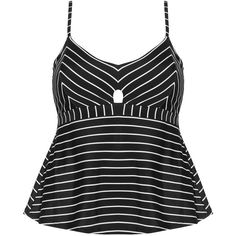 Cactus Black / White Plus Size Cut out striped tankini top ($87) ❤ liked on Polyvore featuring swimwear, bikinis, bikini tops, black, plus size, bow bikini bottom, white bikini top, tankini top, plus size swimwear and plus size swimsuit tops