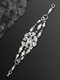 David Morris white gold Wildflower bracelet with pearls and micro diamond-set details.