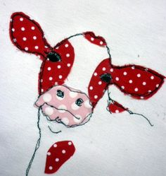 sixty one A: A quick hello!Cow from sixty one A I really like this but. in with the sheep, I guess.Chicken And Broccoli Alfredo Stuffed ShellsKirsty Elson's beautiful cooing Source by KarenHaggisor on an embroidery hoop to hang Sewing Appliques, Applique Patterns, Applique Quilts, Applique Designs, Embroidery Applique, Quilt Patterns, Embroidery Designs, Applique Ideas, Applique Cushions