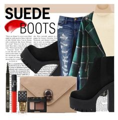 """""""Suede Boots - City Chic Fall 2015 - GrabMyLook"""" by grabmylook ❤ liked on Polyvore featuring Forum, Current/Elliott, Nicki Minaj, Étoile Isabel Marant, NARS Cosmetics, tarte and Gucci"""