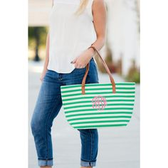 Our monogrammed striped purse is the perfect accessory for this season!  We professionally thread embroider your monogram or name on your striped tote bag. You choose your favorite monogram font and thread color to personalize your tote!  {Item Details}  17.75 L x 5 W x 11 H 100% Cotton with Leather-like Handles Nylon Liner Inside Zipper Pocket with Other Open Pockets Zipper Closure Monogram Shown: Greek Font/Hot Pink Thread  {How To Order}  First, be sure to see all listing photos for…