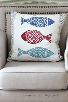Savvy Southern Style: Summer Open House Tour #fish #pillows