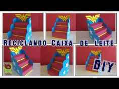 Diy - Escadinha de Doces Feita com Caixa de Leite e Papelão. Porta Docinhos ???????????? Wonder Woman Birthday, Wonder Woman Party, Ideas Decoracion Cumpleaños, Ideas Para Fiestas, Superhero Birthday Party, Birthday Parties, Porta Cup Cakes, Aaliyah Birthday, Diy Cupcake Stand