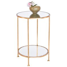 Chico small 2 Tier Gold Leaf Side Table with a Mirror Top by Worlds Away