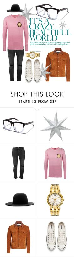 """""""It's A Crazy Beautiful Life"""" by tristan-fraser ❤ liked on Polyvore featuring VALLEY, Topman, Balmain, Études, Versace, Golden Goose, Converse, men's fashion and menswear"""