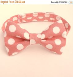 Boy's Coral Bow Tie, Coral Polka Dots, Coral Reef, Salmon, Toddler Bow Tie, Baby, Infant, Kids, Ring Bearer, Page Boy
