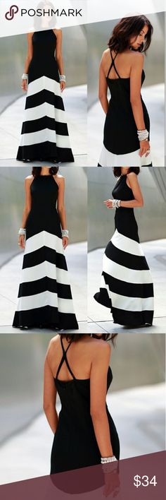 Fashion Black White sleeveless Maxi NWOT Material: Blended Skirt type: Big pendulum type Waist: High Waist Skirt flares out but not a wide as stock photo.  Adjustable straps. Very comfortable and stretchy Not a heavy fabric. Lightweight and great for summer. Dresses Maxi