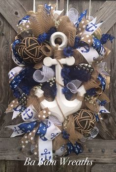 Anchor Decoration Anchor Wreath Summer Wreath by BaBamWreaths Coastal Wreath, Nautical Wreath, Deco Mesh Wreaths, Yarn Wreaths, Floral Wreaths, Burlap Wreaths, Anchor Wreath, Holiday Wreaths, Winter Wreaths