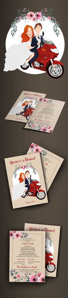 Wedding invitation with personalized illustration of the groom and bride. Wedding Invitations, Behance, Bride, Gallery, Illustration, Check, Projects, Cards, Wedding Bride