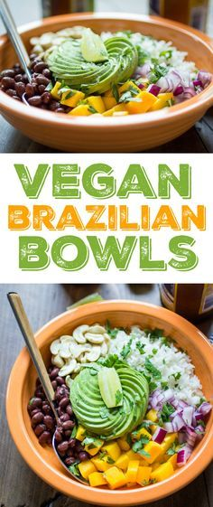 Vegan Brazilian Bowls are loaded with creamy coconut rice, black beans, mango, avocado, and cashews. My favorite flavors from Brazil! Veggie Recipes, Whole Food Recipes, Vegetarian Recipes, Cooking Recipes, Healthy Recipes, Juice Recipes, Easy Recipes, Dinner Recipes, Kitchen