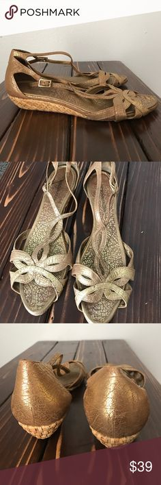 BCBG Max Azria Gold sandals size 8 Beautiful gold sandals. Size 8. They have minor signs of wear. BCBGMaxAzria Shoes Sandals