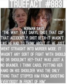 TWD True Fact #883 about Daryl's reaction to Beth's death.