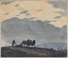 ✨ Hans Frank, Austrian (1884-1948) - Ein Pflüger, Farb-Holzschnitt, signiert [vorläufiges Bild] ::: A Plowman, color woodcut [provisional pic]