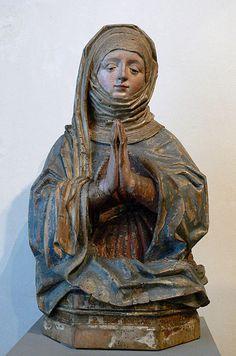 Büste einer heiligen Frau, Wien, um 1460; Lindenholz mit Resten originaler Farbfassung;  Bayerisches Nationalmuseum München, Inv. Nr. 79/361