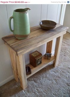 40% OFF SALE Farm House EntryWay TABLE  Wonderful Distressed Natural Wood  Indoor Outdoor Use