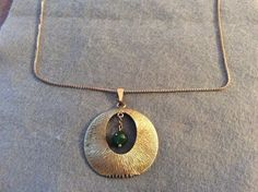 Vintage Signed Krementz Gold Plated Necklace & Bold Pendant Green Bakelite #Krementz #ChainNecklacePendant