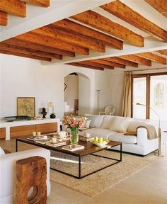 Farmhouse Kitchen Decor Ideas: Great Home Improvement Tips You Should Know! You need to have some knowledge of what to look for and expect from a home improvement job. Home Living Room, Living Room Decor, Living Spaces, Sweet Home, Home Design, Interior Design, Wood Beams, Wooden Beams Ceiling, Modern Ceiling