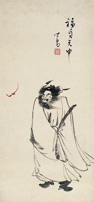 PU RU (1896~1963) MAN AND A BAT WITH LUCKY MEANING Ink and color on paper, mounted 60.5×28.5cm 溥 儒(1896~1963) 福自天申 設色紙本 畫心 款識:福自天申,心畬。 鈐印:溥儒(白)