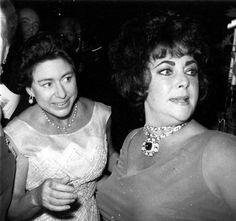 Princess Margaret and Elizabeth Taylor Elizabeth Taylor Jewelry, Miss Elizabeth, Queen Elizabeth Ii, Princesa Margaret, Hollywood Stars, Old Hollywood, King Queen Prince Princess, Burton And Taylor, Margaret Rose
