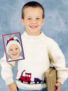 Babies & Children's Knitting - Children's Clothing Knitting Patterns - Engine #9 Pullover and Hat