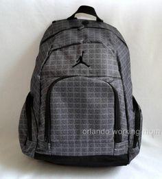Nike Air Jordan 23 Print Backpack School Book Gym Bag Bookbag Grey 9a1119  783   eBay 27c7d0f89c