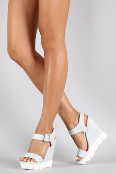 Bamboo Ankle Strap Lug Sole Platform Wedge
