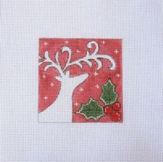 White Deer on Red w/Holly  Handpainted by MarsyesNPCanvas on Etsy