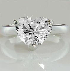 A Perfect 14K White Gold 4.8CT Heart Cut Solitaire Russian Lab Diamond Ring