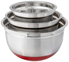 Cook Pro Stainless Steel Mixing Bowls with Non-Skid Base, Set of 3 ... (This is an affiliate link) #mixingbowls