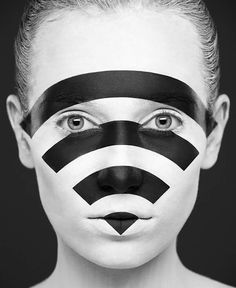 "Illusion: ""Weird Beauty"" is a striking photographic series by Alexander Khokhlov. Additional credits go to face painter Valeriya Kutsan, and modeling by Elena Banduro.    (Photo © Alexander Khokhlov)    http://illusion.scene360.com/art/33691/do-you-have-a-wi-fi-connection/"