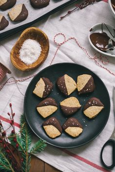 Gluten-free Toasted Coconut + Hazelnut Chocolate Dipped Shortbread Cookies via BAKED the Blog