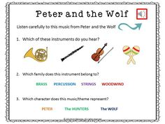 Peter and the Wolf Listening response sheets with short audio clips!
