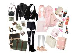 """""""Let's Go On a Trip"""" by lapinhime ❤ liked on Polyvore featuring Yves Saint Laurent, Wildfox, Meadham Kirchhoff, Muk Luks, Dorothy Perkins, Forever 21, WithChic, Hogan, Blue Candy Jewelry and Clips"""