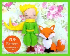 The Little Prince and Fox. Felt Doll. Felt pattern. PDF Pattern. Sewing pattern. Felt Crafts.
