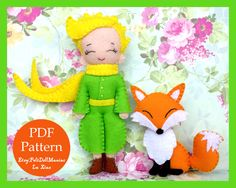 The Little Prince and Fox. Felt Doll. Felt pattern. PDF Pattern. Sewing pattern. Felt Crafts.