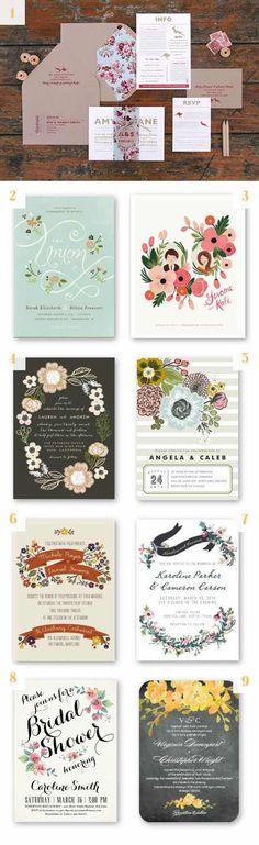Otro estilo de invitaciones rústicas - una simple y original invitación floral - 22 Ideas de Invitaciones Rústicas y Originales para Bodas