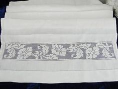 Large Beautiful Antique Linen and Mosaic Lace Towel | eBay Vintageblessings