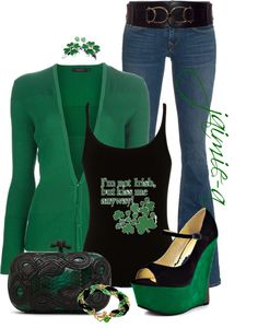 """""""Lady Luck"""" by jaimie-a ❤ liked on Polyvore  Cute!  Partial to green!!!"""