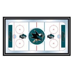 Trademark Global NHL San Jose Sharks Framed Hockey Rink Mirror - NHL1500-SJS