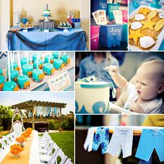 Check out this Totally Cool Backyard Beach Bash {First Birthday} with board short bunting, a shark photo booth and more surf's up stuff!