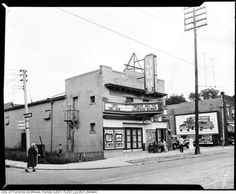 Now the home of Stratenger's. North side of Queen, east side of Bertmount. Joy Theater, Theatre, Toronto Ontario Canada, Toronto Photos, East Side, Present Day, 1950s, The Neighbourhood, Street View