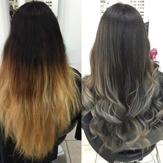ombre to silver ombre transformation