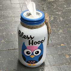 Mason Jar Tissue Holder Bless Hooo Owl