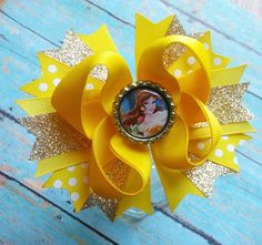 Beauty And The Beast Belle Hair Bow by Prissysbottlecapbows