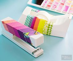Give plain white office accessories a jolt of color with strips of washi tape. Adhere pieces to the surfaces and trim the edges to fit. Play with overlapping tape to allow a bit of show-through. Cut strip ends at angles and match them up with other angled strips to create chevrons.