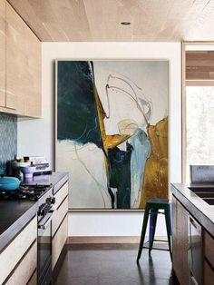 Original Abstract Painting, Minimalist Abstract Painting, Large Abstract Painting, Beige Painting Green Painting, Large Wall Canvas Painting kitchen More from my site Set of 2 Large Abstract Paintings – Gold Beige Black Large Wall Canvas, Large Framed Art, Large Scale Art, Green Paintings, Art Paintings, Painting Art, Interior Painting, Spray Painting, Modern Paintings